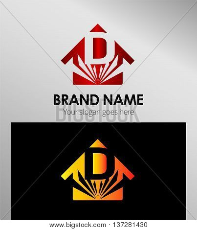 Vector Houses Real Estate with letter D logo