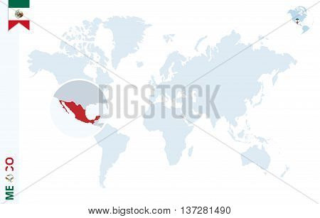 Blue World Map With Magnifying On Mexico.