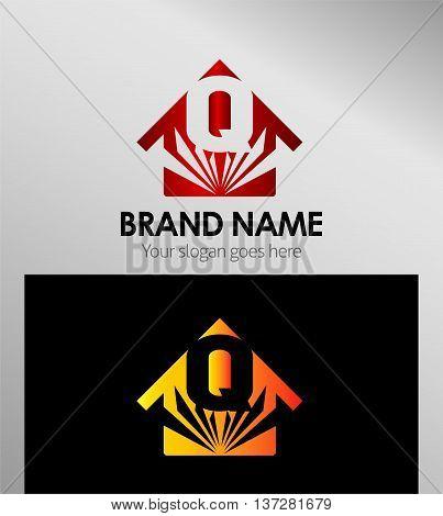 House icon, logo Q letter template design vector
