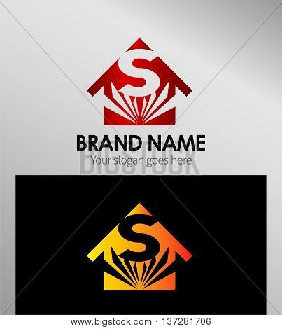House icon, logo S letter template design vector
