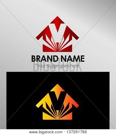 House icon, logo V letter template design vector