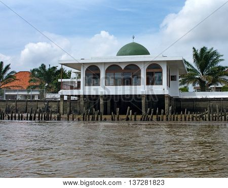 A Small Mosque On Musi River, Palembang, Southern Sumatra, Indonesia.