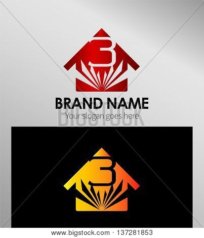 House icon, logo 3 number template design vector