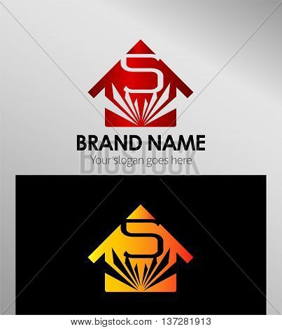 House icon, logo 5 number template design vector