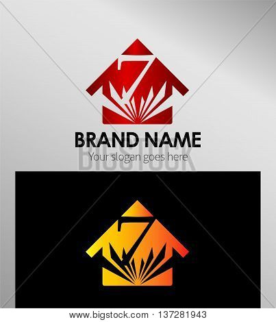 House icon, logo 7 number template design vector