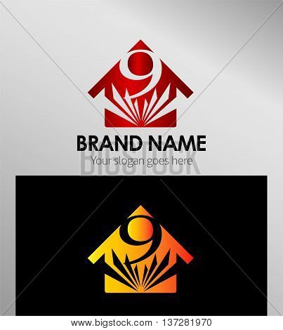 House icon, logo 9 number template design vector