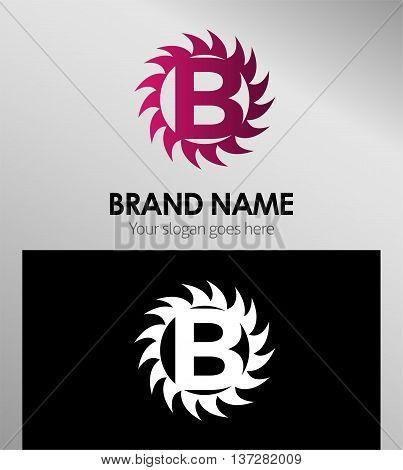 Creative letter B icon. Sun logo concept