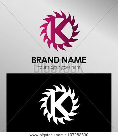 Creative letter K icon. Sun logo concept
