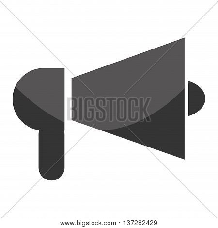 Megaphone or bullhorn isolated flat icon in black and white, vector illustration.