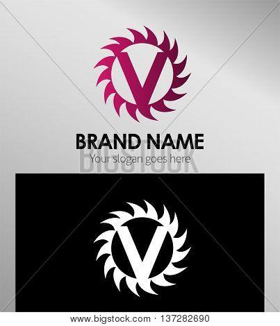 Creative letter V icon. Sun logo concept