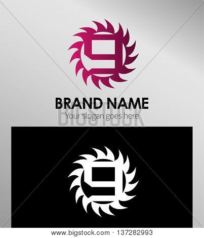 Number nine 9 logo icon template design vector
