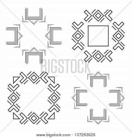 Set of trendy geometric shapes. Set geometric shapes signs labels and frames triangles line design elements vector. Geometric shapes and geometric shapes design. Element line sign geometric esoteric.