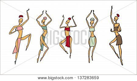 African women in traditional dress. Dancing Africans and aborigines ethnic style. Womens hand drown in ethnic style dancing african girls. African beautiful female traditional vector culture design.