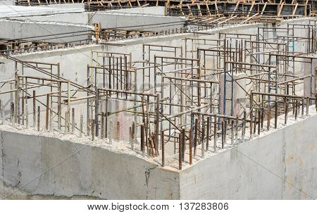Piles in construction for foundation in progress