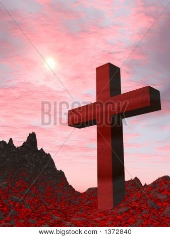 Cross From A Red Stone