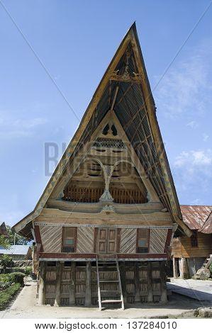 Traditional Batak House On The Samosir Island, Indonesia,
