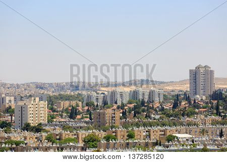 View of the modern tall houses in Beersheba at far distance