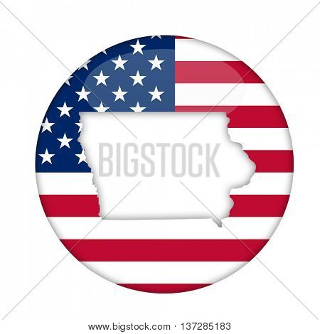 Iowa state of America badge isolated on a white background.
