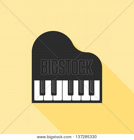 piano icon, music illustration icon, flat design with long shadow