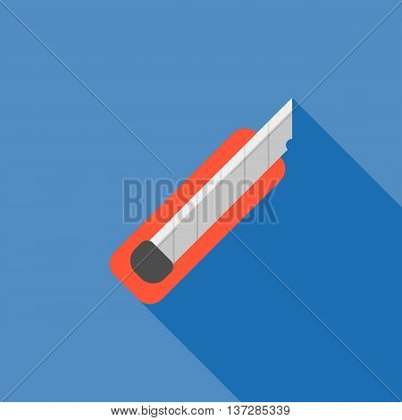 cutter icon with long shadow,knife icon flat design