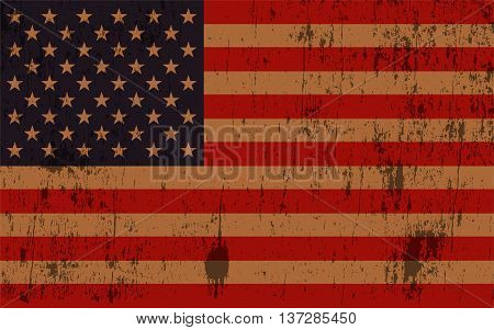 An old and worn grunge textured American flag illustration. Vector EPS 10 available.