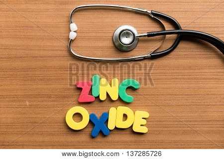 Zinc Oxide Colorful Word With Stethoscope