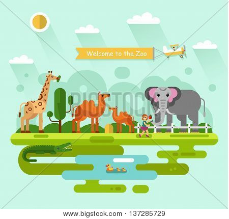 Flat design vector illustration of animals in the Zoo. Elephant with apple, giraffe eating leaves of tree, Bactrian camel with colt, crocodile and family of bird in the pond. Airplane with banner.