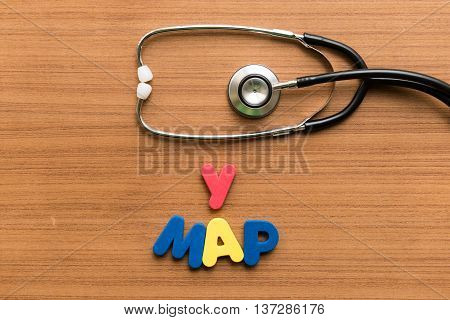 Y Map Colorful Word With Stethoscope