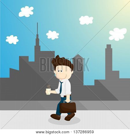 chill time cartoon salary man lifestyle in different emotion