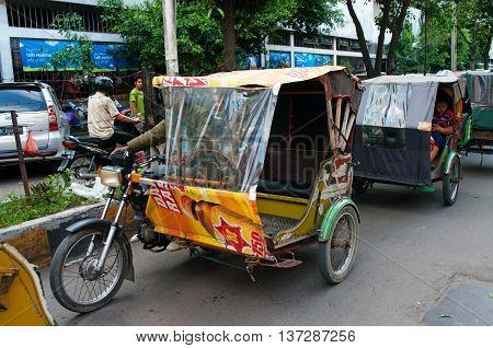 Auto Rickshaw Taxi In Medan, Indonesia.