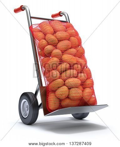 Potatoes in red burlap sacks on the hand truck - 3D illustration