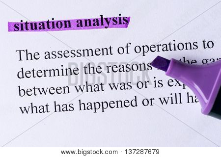 Situation Analysis Word Highlighted