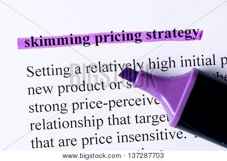 Skimming Pricing Strategy Word Highlighted