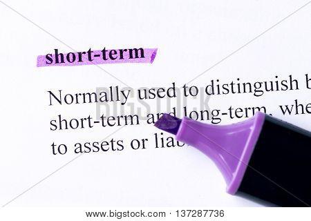 Short Term Word Highlighted