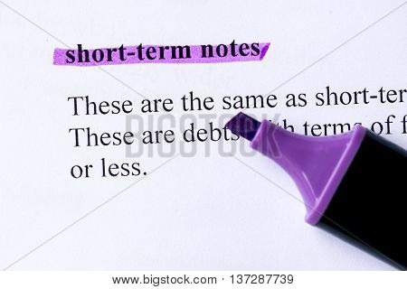 Short Term Notes Word Highlighted