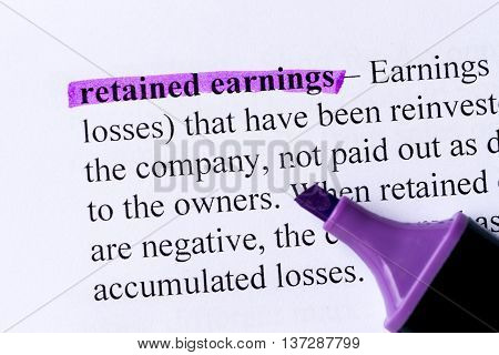 Retained Earnings Word Highlighted