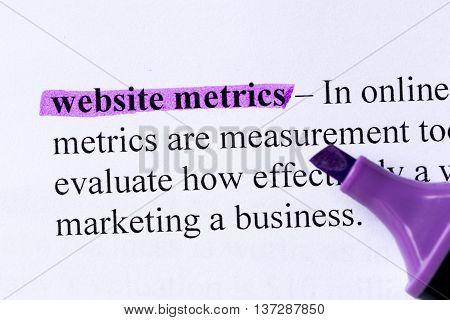 Website Metrics Word Highlighted