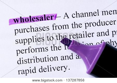 Wholesaler Word Highlighted