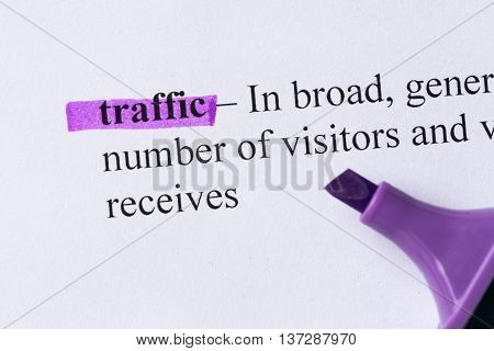 Traffic Word Highlighted