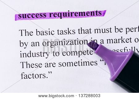 Success Requirements Word Highlighted