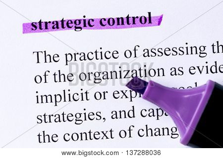 Strategic Control Word Highlighted