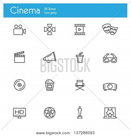 movie cinema and video line icons set, vector