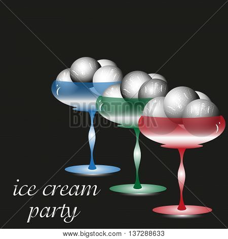 Vector illustration of an ice cream party Drawing on a black background ice cream party, three glass cream freezer dessert with a scoop of delicious and cold