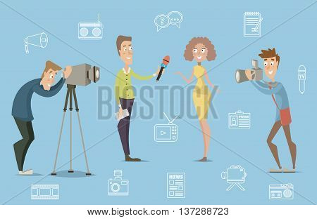 Mass media concept design of live news tv broadcasting with reporter, cameraman, photographer. Cartoon characters. Vector illustration