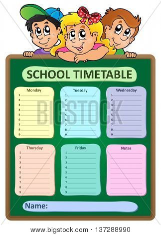 Weekly school timetable theme 5 - eps10 vector illustration.