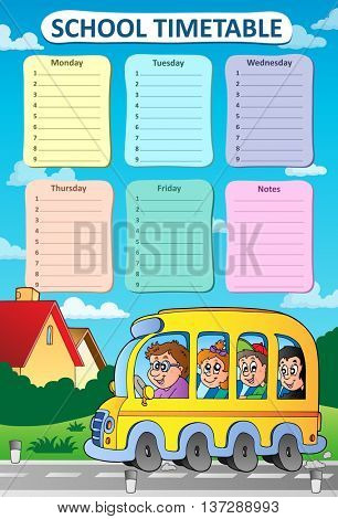 Weekly school timetable theme 8 - eps10 vector illustration.