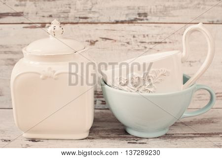 Simple Rustic White And Blue Crockery, Empty Dishes. Two Large Bowls Each Other And Porcelain Jar Wi