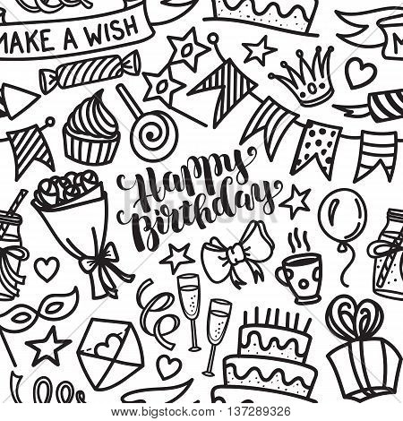Happy birthday lettering and doodle seamless pattern. Vector illustration on white background. Funny pattern made of sketched birthday party objects
