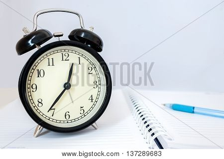 Retro Alarm Clock With Retro Colored In White Background, White Background With Retro Alarm Clock On