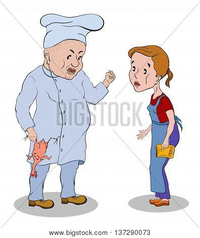 cook in white hat with a chicken in his hand a little waitress scolds